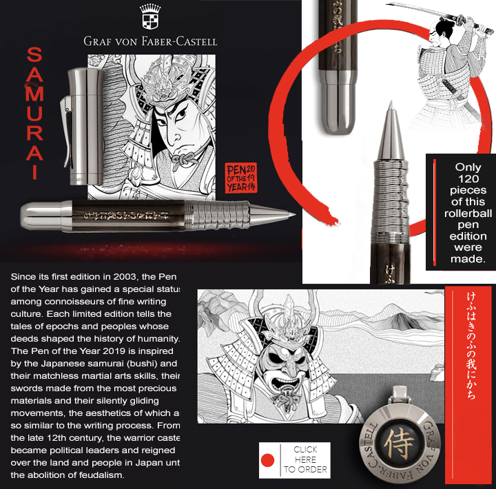 GRAF VON FABER CASTELL 2019 PEN OF THE YEAR SAMURAI GFC145167 ROLLERBALL LIMITED TO 120 PIECES.